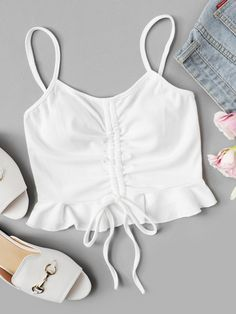 SheIn offers Ruched Drawstring Detail Cami Top & more to fit your fashionable needs. Teen Fashion Outfits, Mode Outfits, Star Fashion, Look Fashion, Outfits For Teens, Cute Comfy Outfits, Girly Outfits, Crop Top Outfits, Cami Tops