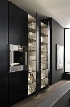 via heavywait - modern design architecture interior design home decor & Black Kitchens, Luxury Kitchens, Home Kitchens, Modern Kitchen Design, Modern Interior Design, Interior Design Living Room, Kitchen Designs, Kitchen Interior, Kitchen Decor