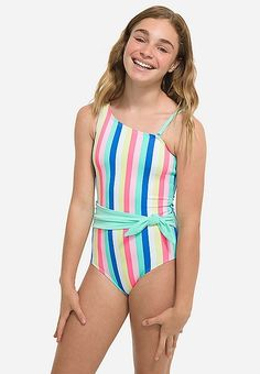 Justice is your one-stop-shop for on-trend styles in tween girls clothing & accessories. Shop our Candy Stripe One Shoulder One Piece. Swimsuits For Tweens, Bikinis For Teens, Cute Swimsuits, Flounce Bikini Top, Strappy Bikini Top, Preteen Girls Fashion, Girl Fashion, Tween Girls Clothing, Bathing Suits Hot