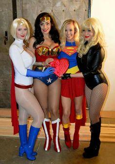 Vegas PG Cosplay as Power Girl, Valerie Perez (<3) as Wonder Woman, Katie Lloyd as Supergirl & Jessica LG as Black Canary