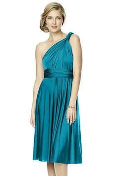 Shop Dessy Quick Delivery Style - Twist Wrap: Short Maracaine Jersey in Maracaine Jersey at Weddington Way. Find the perfect made-to-order bridesmaid dresses for your bridal party in your favorite color, style and fabric at Weddington Way.