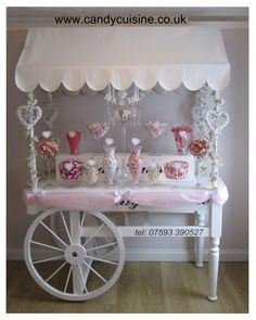 Large Candy cart in pink and white
