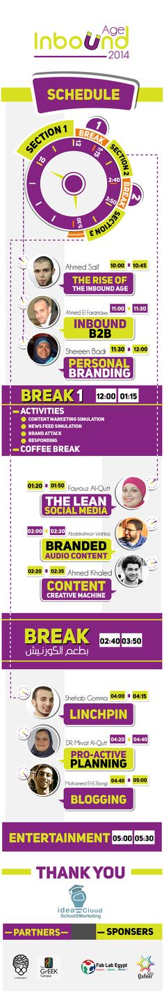 Here you will find the schedule details For Inbound Age event 2014  The first inbound marketing event in Egypt Join us to get injected by Inbound marketing ;)  #InboundAge2014