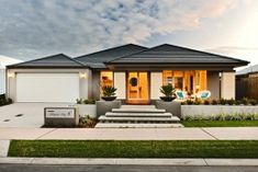 Dale Alcock Display Homes: The Willows. Villa Design, Home Design, Front House Landscaping, Modern Landscaping, Landscaping Ideas, Modern Exterior, Exterior Design, Bungalow Haus Design, Style At Home