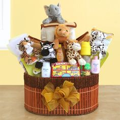 Did a friend or family member recently have a baby? Send them the Noah's Ark Baby Gift basket $99.79