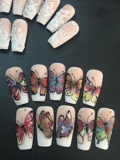 Heat Up Your Life with Some Stunning Summer Nail Art Toe Nail Designs, Acrylic Nail Designs, Acrylic Nails, Helen Nails, Silk Nails, Sculpted Gel Nails, Butterfly Nail Art, Vintage Nails, Painted Nail Art