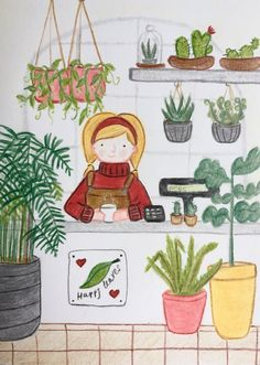 Coloured pencil drawing, polychromos illustration, plant shop