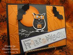 Cute halloween card using stampin up bitty bat and owl punch