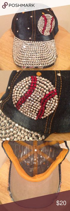 Super blingy baseball hat This baseball hat is super blingy & super cute!! NWOT..This baseball mom will be all the envy! Accessories Hats