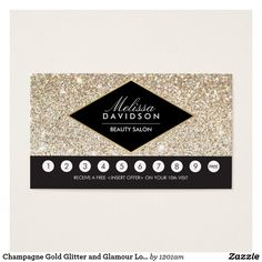 Champagne Gold Glitter And Glamour Loyalty Card Salon Beauty Business Cards
