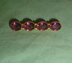 Old vintage bar brooch with purple stones poss by VintagePointUK, £17.50