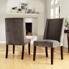 Grey Chenille Wingback Chairs Set Of Two Side Chairs Dining Chairs Kitchen & Dining Furni