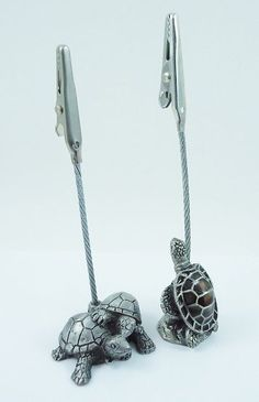 Two Pewter Sea Turtle and Tortoise  Memo Clips Photo Holders  Desk Decor