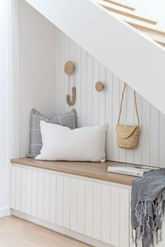 Stairs in entryway design with storage. Love the white headboard & pale wood tone & hook placement. So fun & unexpected! Home And Living, Home And Family, Modern Interior, Interior Design, Entry Way Design, Modern Stairs, Trendy Home, Home Renovation, Interior Inspiration