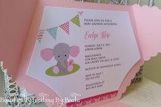 Polka dots and elephants - dont they say C U T E?? Such a darling theme to shower the mommy to be!  $2.50 Base price includes: *Diaper Cover in Metallic Light Pink {approx 6.25W x 4.5H} *Inside Mat printed on White Metallic card stock {approx 5.75W x 4H} *Inside mat professionally printed *Smooth white blank A6 envelope {non metallic} -----------------  Dazzle your posh invitation with: * 7/8 Silver Double faced satin ribbon (.60 each) * 2 circle tag - shown with baby elephant graphic and…