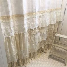 Shabby Chic Shower Curtain White Ivory Lace Ruffle Girls Bohemian Bathroom Gift…