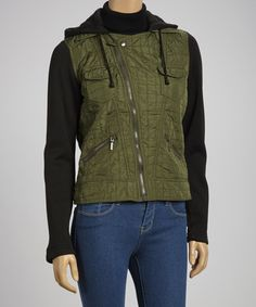 Take a look at this Olive & Charcoal Layered Jacket by Yoki on #zulily today! $18 !!