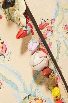 Fendi - Peekaboo Medium Appliquéd Floral-print Leather Tote - Ivory - one size