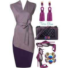 Lady In Lavender by terra-glam on Polyvore featuring forme d'expression, WearAll, Giuseppe Zanotti, Oscar de la Renta, Kendra Scott and Chanel