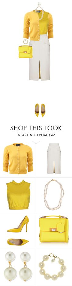 """Yellow Cardigan"" by ittie-kittie ❤ liked on Polyvore featuring Boutique Moschino, Topshop, Dirk Bikkembergs, STELLA McCARTNEY, Ninalilou, Balenciaga, Kenneth Jay Lane, Chanel, women's clothing and women"
