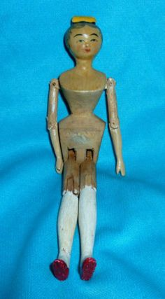 RARE ANTIQUE VINTAGE HAND CARVED ARTICULATED WOODEN DOLLS HOUSE PEG DOLL / DOLLY | eBay