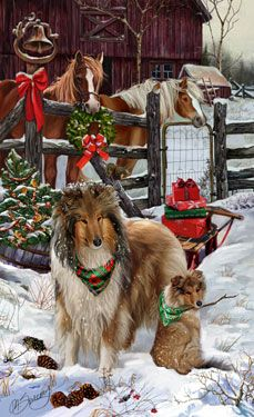 """New for 2013! Rough Collie Christmas Holiday Cards are 8 1/2"""" x 5 1/2"""" and come in packages of 12 cards. One design per package. All designs include envelopes, your personal message, and choice of greeting. Select the inside greeting of your choice from the menu below.Add your custom personal message to the Comments box during checkout."""