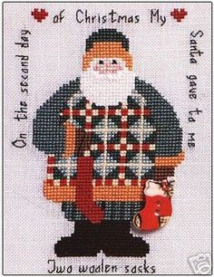 Artists Collection Heartstrings The 12 Days of Santa Day 2 Counted cross stitch pattern. Stitch count X Santa Cross Stitch, Cross Stitch Charts, Cross Stitch Patterns, Cross Stitching, Cross Stitch Embroidery, Christmas Crafts Sewing, Christmas Embroidery Patterns, Theme Noel, Noel Christmas