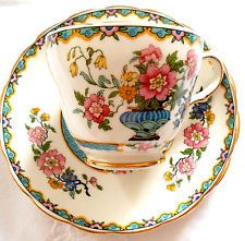 Grosvenor China England Wu Ting Tea cup saucer plate trio gold gilt vgc Art Deco