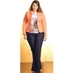 """Venezia Lane Bryant Right Fit Jeans Blue 1 Tall Venezia Right fit Blue is curvy fit. Size 1 Tall is 14/16. See measurements: waist 35.5"""", rise 11"""", inseam 33"""". Legs have a flare to them. (Photo 1 provided for styling inspiration. Actual jeans are photos 2-4) Venezia Jeans Flare & Wide Leg"""