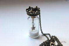 Necklace with crown pendentif tube bottle neckace bottle