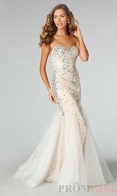 Floor Length Strapless Sweetheart Sequin Dress at PromGirl.com