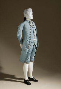 Three-piece Suit  France, circa 1765  Costumes; principal attire (entire body)  Silk plain weave (faille) with metallic-thread passementerie