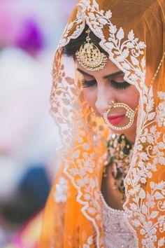 Looking for Bride in Orange Lehenga and White Embroidery and Nath? Browse of latest bridal photos, lehenga & jewelry designs, decor ideas, etc. on WedMeGood Gallery. Sikh Bride, Punjabi Bride, Punjabi Suits, Bridal Poses, Bridal Portraits, Desi Wedding, Wedding Bride, Wedding Ideas, Wedding Photos