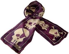 Arrrgh! crystal j.original hand painted silk skull scarf. Show your pirate-style with this scarf. Now offered in oblong size! Great tied in your hair as a headband, around your fave summer hat or bag. Hang it as art. aubergine + white.    Personalize it with your initials or name!  http://www.etsy.com/view_listing.php?listing_id=20167926