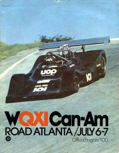 1974 Can Am Road Atlanta Race Meeting program cover showing the Jackie Oliver Shadow DN2