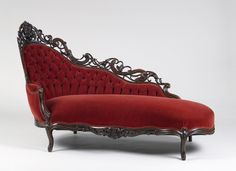 Sultry red chaise lounge. Yum!  Esther LaVonne Design, High Victoriana, chaise lounge, interior design, velvet, red