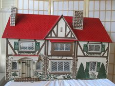 Vintage 1940s Rich Dollhouse, Keystone Style, Tudor, Masonite, 2 Story, 6 Rooms Girls Dollhouse, Dollhouse Dolls, Dollhouse Miniatures, Antique Dollhouse, Old School Toys, Miniature Houses, Little Boxes, Doll Furniture, Old Toys