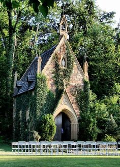 The stone church covered in ivy, to me, looks like a barn rather than a church. The ivy growing in the side shows that there is more to the wild rather than to something so refined, such as a church. In the valley amongst the oak & elm trees stood a little stone church covered in ivy!: