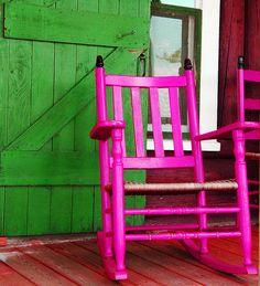 Pink rocker, green door