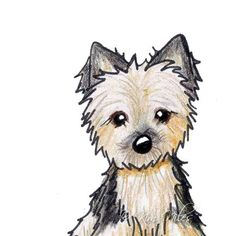 Yorkshire Yorkie Terrier Dog Original Art ACEO Ebsq by KiniArt