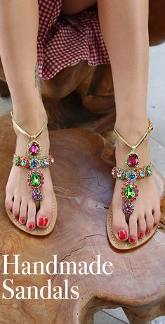 Shop our multicolored sandals for your next summer vacation! Beautiful Sandals, Cute Sandals, Cute Shoes, Me Too Shoes, American Eagle Sandals, Jeweled Sandals, Rhinestone Sandals, Sexy Toes, Bare Foot Sandals