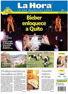 Los temas destacados son: Bieber enloquece a Quito, Poco control en canteras, Piden subir el precio de la carne, Aumenta captura de droga, y 19 niños muertos en incendios en 2013.