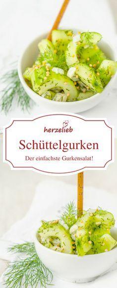Schüttelgurken sind der wohl einfachste Gurkensalat der Welt. Mit diesem Rezept ist er in zwei Minuten fertig. Erfrischend - ein tolles Sommer Rezept von herzelieb
