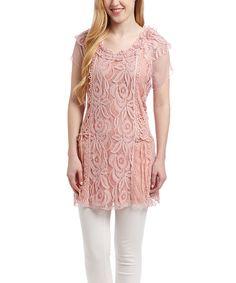 Pretty Angel Mauve Lace Linen-Blend Cap-Sleeve Tunic | zulily