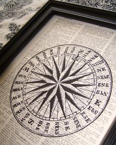 Compass, Nautical, Vintage Art Print, Dictionary Book Art Print, Upcycled Book Page Print