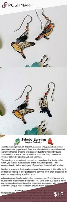 Jabebo American Kestrel ERs PRICE FIRM Nature-inspired earrings, made of shellaced cereal boxes! and surgical steel wires. See third picture for more info about Jabebo earrings. 7/8 inch.  Price firm unless bundled. Check closet for many more Jabebo Bird Earrings! Jabebo Jewelry Earrings