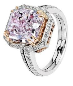 MICHAEL BEAUDRY | Fancy 5.09 Pink Purple Diamond Ring.  Bright color contrast works beautifully well in jewelry!