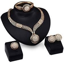 African Beads Exaggerate Austrian Crystal Necklace Earring Bracelet Ring  For Women Party Wedding Bridal Fine Gold Jewelry Sets 8fa415985ec1
