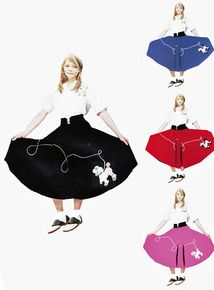 Kids Poodle Skirt that is wash 'n wear, 4 beautiful color choices, satin embroidered poodle appliique'. Great price! Black, Royal Blue, Red, and Rose Pink.All feature white satin poodle applique'