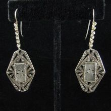 Long French Art Deco Silver, Paste, and Moulded Glass Earrings for sale $185